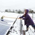 solar panels in the snow